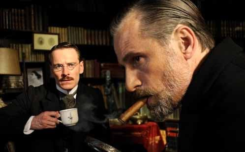 Michael Fassbender and Viggo Mortensen as Jung and Freud