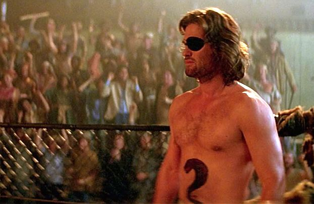 Kurt Russell as Snake Plissken. Screenshot
